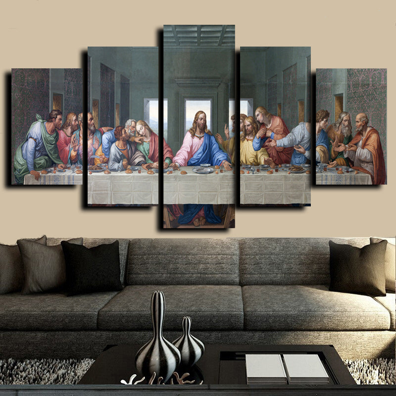 5 Sets Famous HD Print Canvas Painting The Last Supper Leonardo Da Vinci Wall Pictures For Living Room kitchen Room Unframed - SallyHomey Life's Beautiful