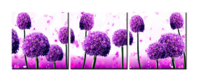 Modern 3 Modules Flower Posters and Print Wall Art Canvas Painting Royal Purple Allium Giganteum Wall Decoration For Living Room - SallyHomey Life's Beautiful