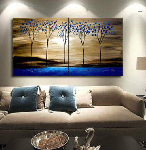 Decorative panels oil painting on canvas handmade blue tree tableaux peints la main tableau decoration murale salon for kitchen - SallyHomey Life's Beautiful