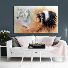 Load image into Gallery viewer, Large Size Poster And Prints Wall Art Canvas Painting Wall Pictures For Living Room Noble Indian Girl Feather Picture Decoration - SallyHomey Life's Beautiful