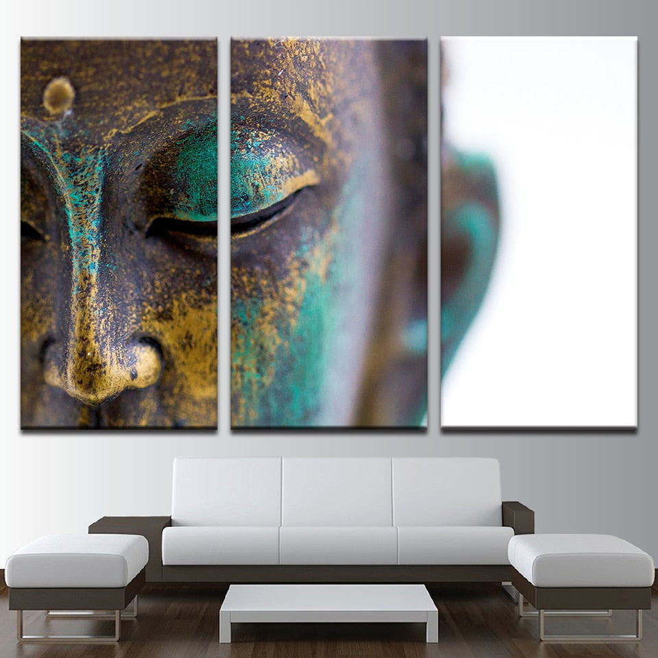 Modular HD Painting Modern Wall 3 Pieces Buddha Statue Face Printed Picture Art For Living Room Home Decor Canvas Artwork - SallyHomey Life's Beautiful