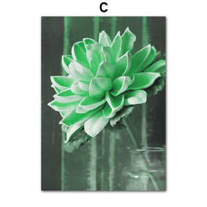 Nature Green Leaves Succulent Plants Wall Art Canvas Painting Nordic Posters And Prints Wall Pictures For Living Room Decor - SallyHomey Life's Beautiful