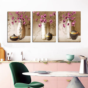 3Pcs Classical Poster Prints on Canvas Red Flower with Vase,Pottery Picture - SallyHomey Life's Beautiful
