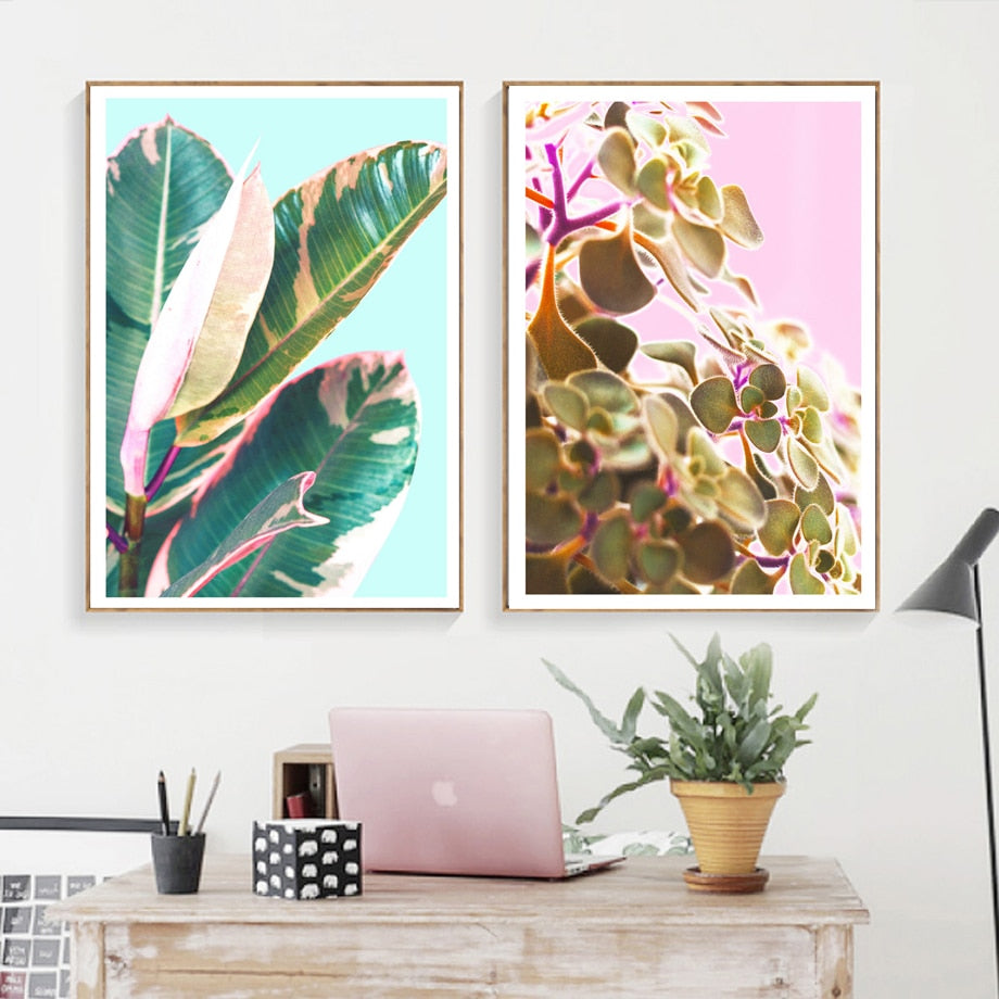 Tropical Banana Hairy Leaf Flower Wall Art Canvas Painting Nordic Posters And Prints Wall Pictures For Living Room Bedroom Decor - SallyHomey Life's Beautiful