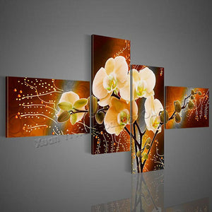 4 Panel Modern Handpainted Flower Oil Painting Abstract Handmade Wall Art Home Decor No Frame (25x50cm 25x60cm) - SallyHomey Life's Beautiful
