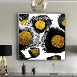 Glamour Abstract Artwork, Black And Gold Abstract Canvas Print, Posters and Prints Wall Decor Canvas Paintings for Living Room - SallyHomey Life's Beautiful