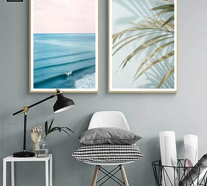 Scandinavian Tropical Decoration Sea Leaf Canvas Poster Landscape Nordic Style Wall Art Print Nature Painting Decorative Picture - SallyHomey Life's Beautiful