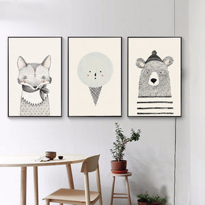 Posters And Prints Wall Art Canvas Painting Cute Deer and Fox Pictures For Kids Bedroom Wall Decoration Children Gifts Frameless - SallyHomey Life's Beautiful