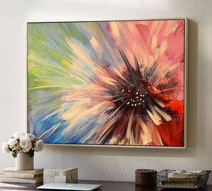 Professional Artist Handmade High Quality Colorful Abstract Flower Oil Painting on Canvas Handmade Unframed Floral Oil Painting - SallyHomey Life's Beautiful