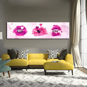 Modern Abstract Oil Painting Kiss Love in Lip Watercolor Canvas Painting Print Poster Wall Picture Art for Bedroom Home Decor - SallyHomey Life's Beautiful