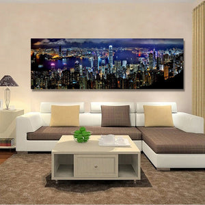 Landscape Posters and Prints Wall Art Canvas Painting Hong Kong City Night Scene Decorative Pictures for Living Room Home Decor - SallyHomey Life's Beautiful