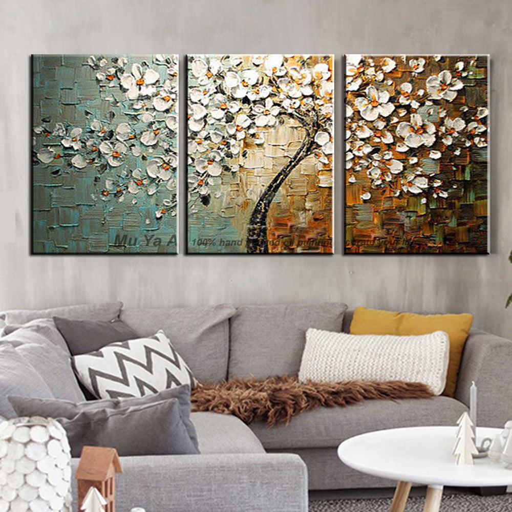 Handmade Decorative canvas painting cheap modern paintings palette knife acrylic painting tree wall pictures for living room - SallyHomey Life's Beautiful