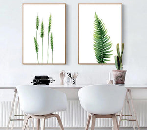 Watercolor Plants Leaves Flower Poster Wall Art Canvas Prints Minimalist Painting Nordic Wall Pictures for Livng Room Home Decor - SallyHomey Life's Beautiful