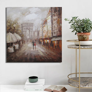 Posters and Print Wall Art Canvas Painting, Modern Abstract Arc de Triomphe Landscape Decorative Paintings for Living Room Decor - SallyHomey Life's Beautiful