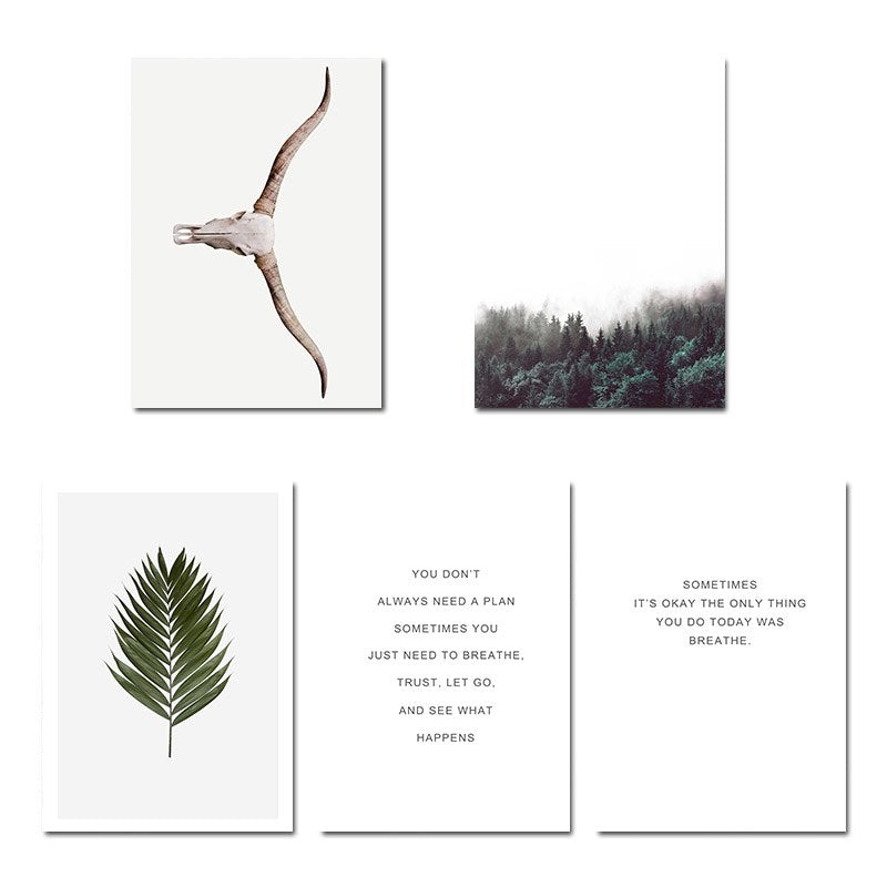 Scandinavian Forest Leaf Canvas Poster Motivational Nordic Style Nature Wall Art Print Painting Decoration Pictures Home Decor - SallyHomey Life's Beautiful