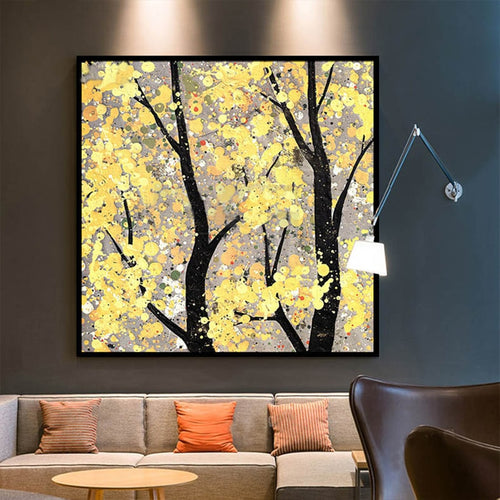 100% Hand Painted Modern Tree Scenery Oil Painting On Canvas Wall Art Frameless Picture Decoration For Live Room Home Decor Gift