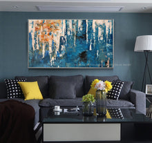 Load image into Gallery viewer, Oil painting on canvas handmade blue texture modern abstract art original  laminas de cuadros pared decorativas horizontales - SallyHomey Life's Beautiful