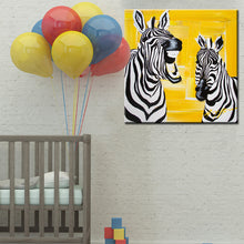 Load image into Gallery viewer, Abstract Cute Animal Canvas Painting Laughing Zebra Digital Printed Poster Wall Painting for Baby Bedroom Home Decor Gift - SallyHomey Life's Beautiful