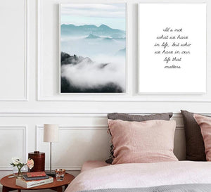 Foggy Mountain Wall Art Canvas Poster Landscape Leaf Nordic Style Print Painting Decorative Picture Modern Home Decor - SallyHomey Life's Beautiful