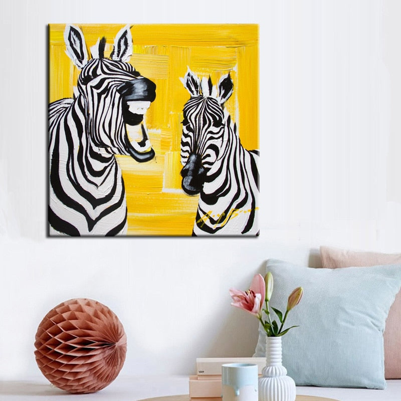Abstract Cute Animal Canvas Painting Laughing Zebra Digital Printed Poster Wall Painting for Baby Bedroom Home Decor Gift - SallyHomey Life's Beautiful