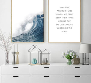 Ocean Sea Waves Canvas Nordic Posters Prints Landscape Scandinavian Style Wall Art Painting Decoration Pictures for Living Room - SallyHomey Life's Beautiful