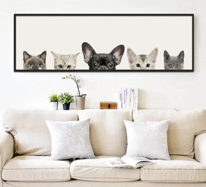 Animals Cat Dog Poster Minimalist Art Canvas Painting Wall Picture Long Banner Print Modern Home Room Decoration 391 - SallyHomey Life's Beautiful