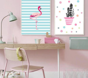Cartoon Unicorn Flamingo Nursery Posters Prints Wall Art Canvas Painting Picture Nordic Kids Bedroom Decoration - SallyHomey Life's Beautiful