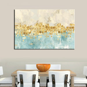 70x100cm Modern Abstract Gold Money Sea Wave Poster Print on Canvas - SallyHomey Life's Beautiful