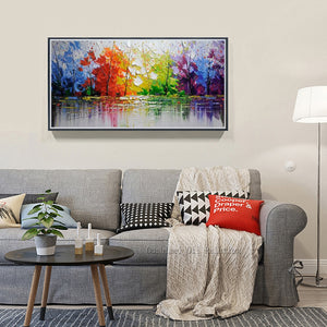 High Quality Abstract Trees -Beautiful Colors Abstract Landscape  Oil Paintings - SallyHomey Life's Beautiful