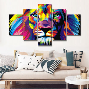 🔥 Lion  Wall Decor 5 Panels Abstract Watercolor - SallyHomey Life's Beautiful