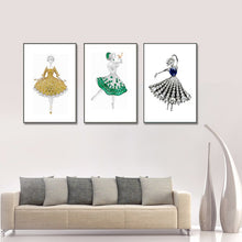 Load image into Gallery viewer, Modern Abstract Art Posters and Print Wall Art Canvas Painting Girls' Dress Inlaid with Gems Decorative Pictures for Living Room - SallyHomey Life's Beautiful