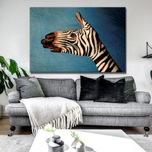 Load image into Gallery viewer, Frameless Wall Decoration Posters Print On Canvas Wall Art Canvas Painting Abstract Zebra is Painted on the Hand for Room Wall - SallyHomey Life's Beautiful
