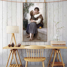Load image into Gallery viewer, France Aestheticism Painter William Adolphe Bouguereau A Little Coaxing Poster Print on Canvas Wall Art Painting for Living Room - SallyHomey Life's Beautiful