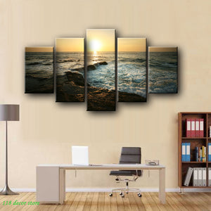 Modern Landscape Posters and Prints on Canvas Wall Art Decoration Canvas Painting Sunrise at Sea Pictures For Living Room Wall - SallyHomey Life's Beautiful