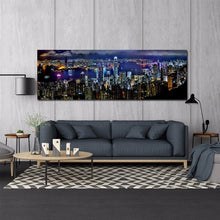 Load image into Gallery viewer, Landscape Posters and Prints Wall Art Canvas Painting Hong Kong City Night Scene Decorative Pictures for Living Room Home Decor - SallyHomey Life's Beautiful