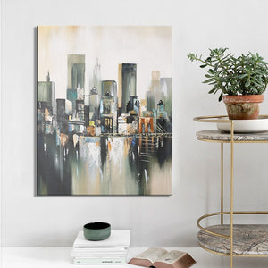 Modern Abstract Oil Painting on Canvas Wall Art Manhattan Bridge Posters Print Wall Decorative Pictures for Living Room Decor - SallyHomey Life's Beautiful