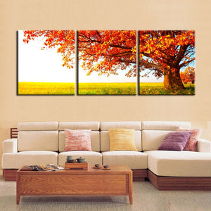 Modern Printed Posters Wall Art Decoration Canvas Painting 3Panels Red Trees in the Prairie Pictures for Living Room Wall - SallyHomey Life's Beautiful
