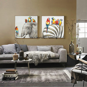 Hand Painted Oil Painting On Canvas Elephant Parrots Animals Wall Art Picture For Bedroom Living Room Home Decoration Paintings