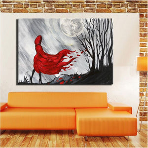 Modern Abstract Wall Decoration Canvas Painting Red Coat Girl at Night Hand Painted Poster Prints On Canvas for Living Room Gift - SallyHomey Life's Beautiful