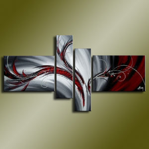 Hand Painted Abstract Oil Paintings On Canvas Red Black White Modern Oil Painting Set Home Decoration Wall Art For Living Room - SallyHomey Life's Beautiful