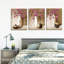 Load image into Gallery viewer, 3Pcs Classical Poster Prints on Canvas Red Flower with Vase,Pottery Picture - SallyHomey Life's Beautiful