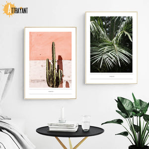 Tropical Flesh Keel Cactus Palm Leaf Wall Art Canvas Painting Nordic Posters And Prints Wall Pictures For Living Room Home Decor - SallyHomey Life's Beautiful