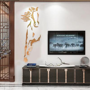 New arrival Horses Living room Acrylic 3d Wall Sticker Restaurant Background DIY art wall decor Creative mirror wall sticker - SallyHomey Life's Beautiful
