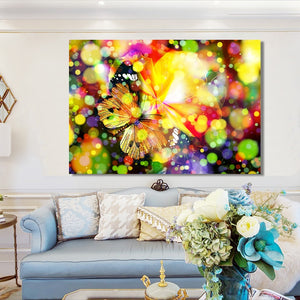 Modern Posters and Prints Wall Art Canvas Painting Multicolored Dreamy Butterfly Decorative Pictures for Living Room Home Decor - SallyHomey Life's Beautiful