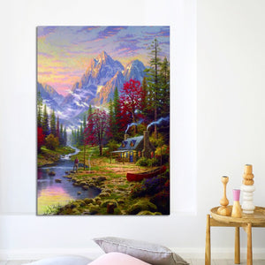 Warm Pastoral Landscape Oil Paintings by Thomas Kinkade, Posters Print on Canvas Wall Art Canvas Painting for Living Room Decor - SallyHomey Life's Beautiful