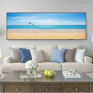Modern Seascape Posters and Prints Wall Art Canvas Painting Beach Seagull, Dolphins Pictures for Living Room Home Decor No Frame - SallyHomey Life's Beautiful