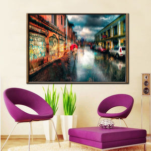 Town Street Landscape Canvas Painting Digital Printed Canvas Art Picture A Girl Walks In The Rain Oil Painting Home Decor Gift - SallyHomey Life's Beautiful