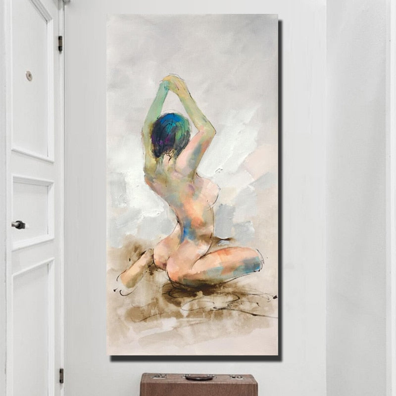 🔥Abstract Canvas Painting Nude Woman's Back Print Poster Wall Painting For Living Room Wall Art Picture Home Decor Gift No Frame - SallyHomey Life's Beautiful