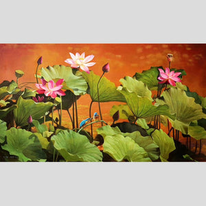 100% Hand Painted Realistic Lotus Pond Art Oil Painting On Canvas Wall Art Frameless Picture Decoration For Live Room Home Decor