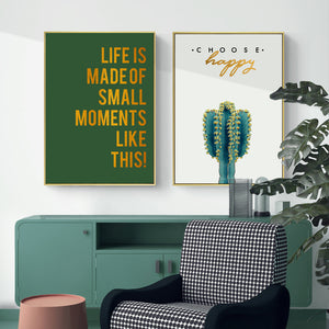 Nordic Minimalism Posters And Prints Green Wall Art Canvas Painting Cacti Flowers Art Pictures for Living Room Decor Frameless - SallyHomey Life's Beautiful